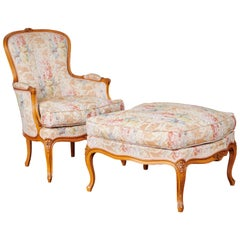 Louis XV French Cherrywood Armchairs with Foot Rest, 3-Piece Set, circa 1980