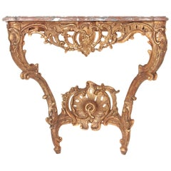 Louis XV French Console Table with Marble Top