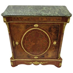 Louis XV French Reproduction Marble Top Bronze & Inlay Sideboard Commode Cabinet