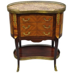 Louis XV French Style Kidney Shaped Marble-Top Nightstand End Table