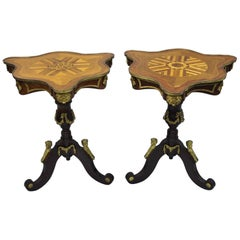 Louis XV French Style Repro Marquetry Inlay Side Tables Bronze Figures, a Pair