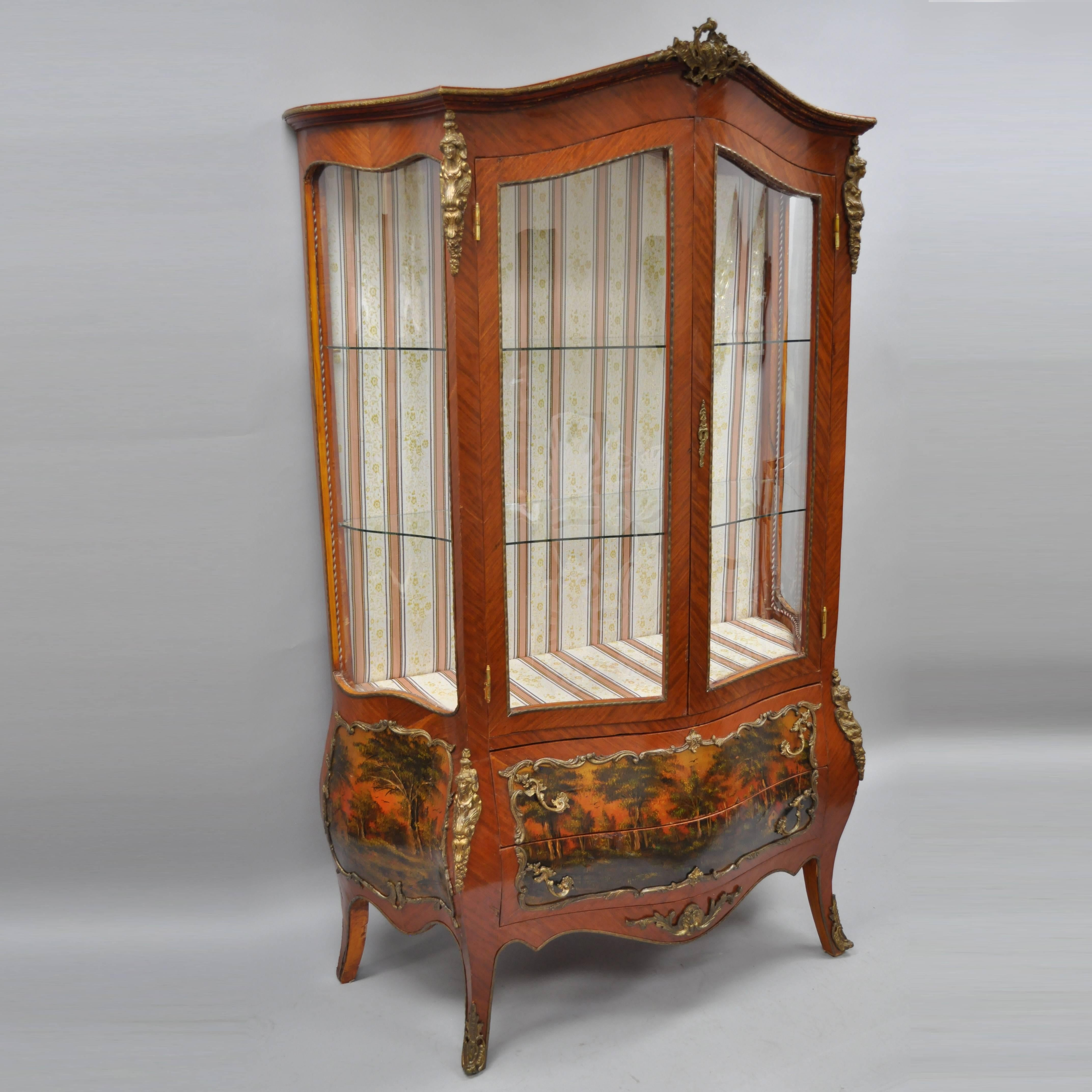 Louis XV French Style Reproduction Bombe Curio China Cabinet Vitrine With  Bronze For Sale 7