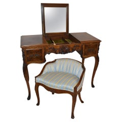 Louis XV French Style Walnut Dressing Table / Vanity & Chair by Irwin Furniture