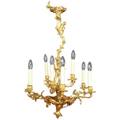 Louis XV Gilt-Bronze Nine-Light Chandelier
