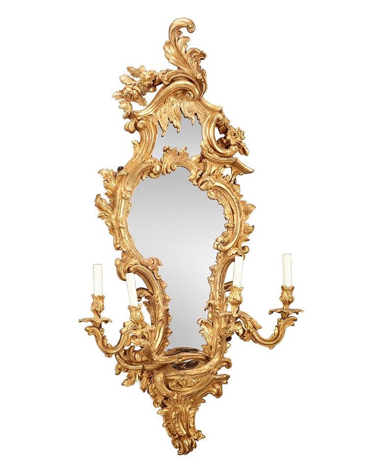 French Louis XV Giltwood Mirrored Girandoles For Sale