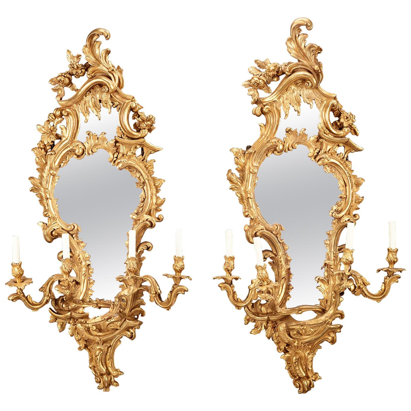 Louis XV Giltwood Mirrored Girandoles