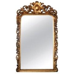 Louis XV Gold Leaf Carved Embellished Mirror