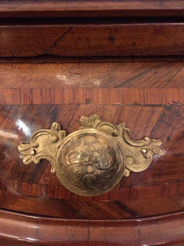Louis XV Italian Drop Front Bureau from Genoa circa 1770 Walnut Veneered Inlaid  6