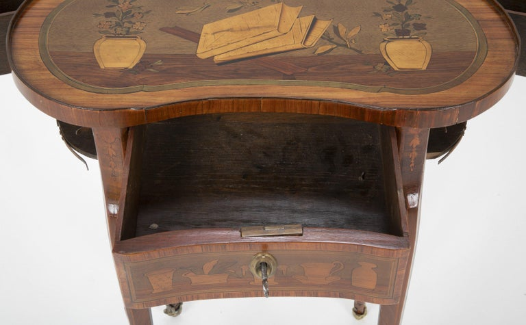 Louis XV Kidney Form Marquetry Table After Charles Topino For Sale 5