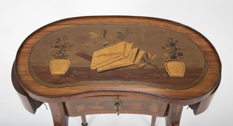 Louis XV Kidney Form Marquetry Table After Charles Topino For Sale 6