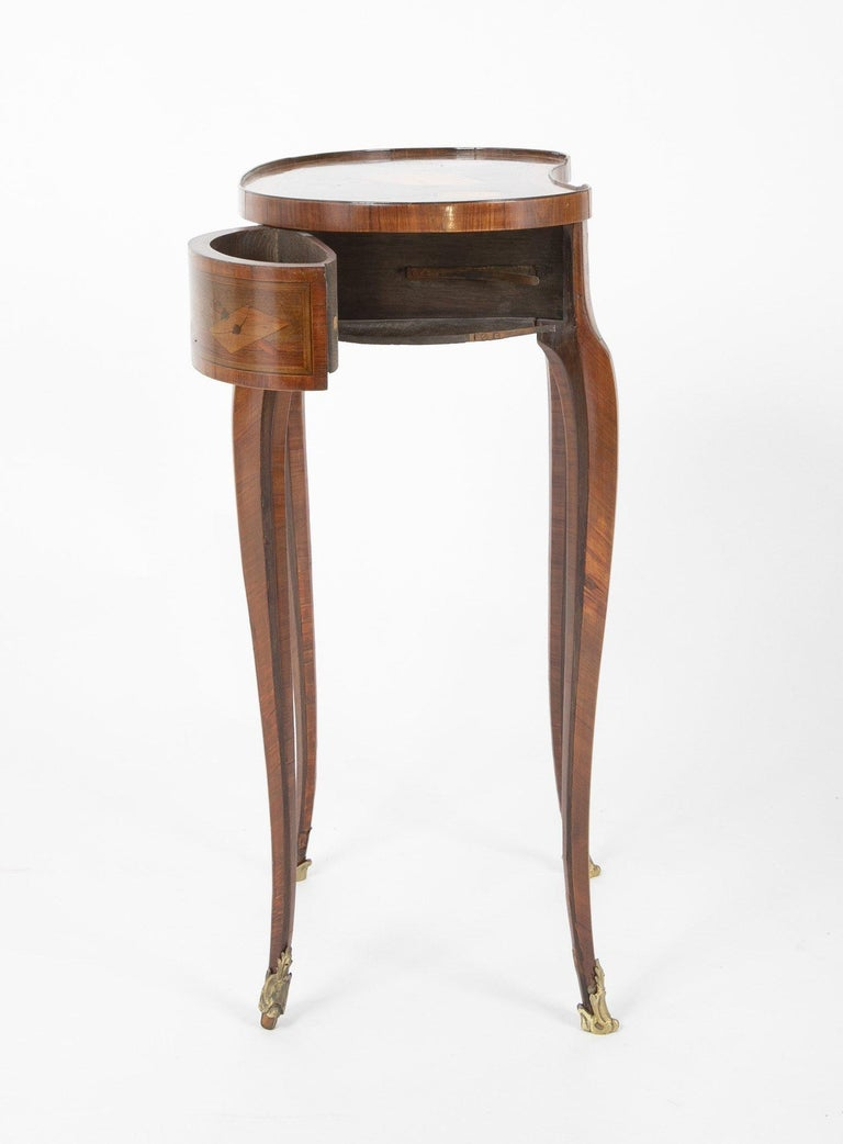 Louis XV Kidney Form Marquetry Table After Charles Topino For Sale 7