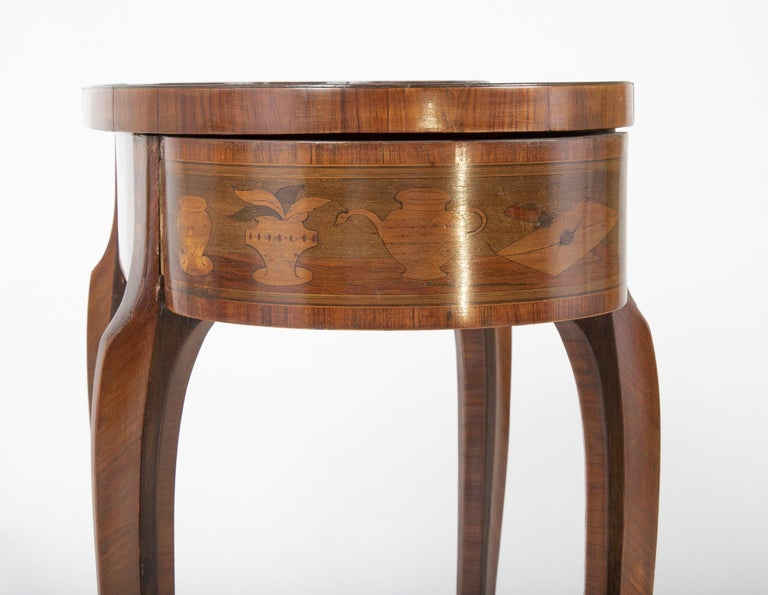 Louis XV Kidney Form Marquetry Table After Charles Topino For Sale 8
