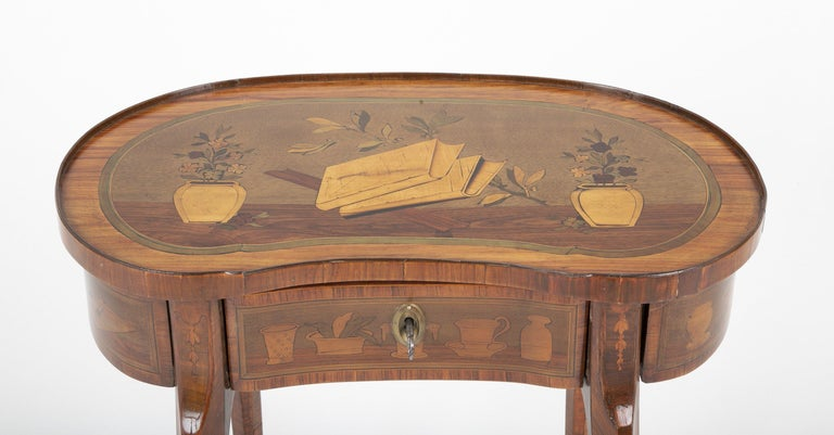 Louis XV Kidney Form Marquetry Table After Charles Topino For Sale 9