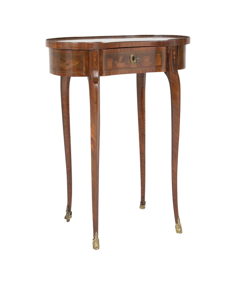 Unusual Louis XV kidney form marquetry table with mechanical side drawers after Charles Topino, circa 1770s.