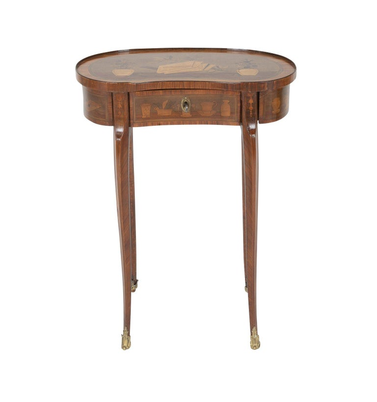 European Louis XV Kidney Form Marquetry Table After Charles Topino For Sale
