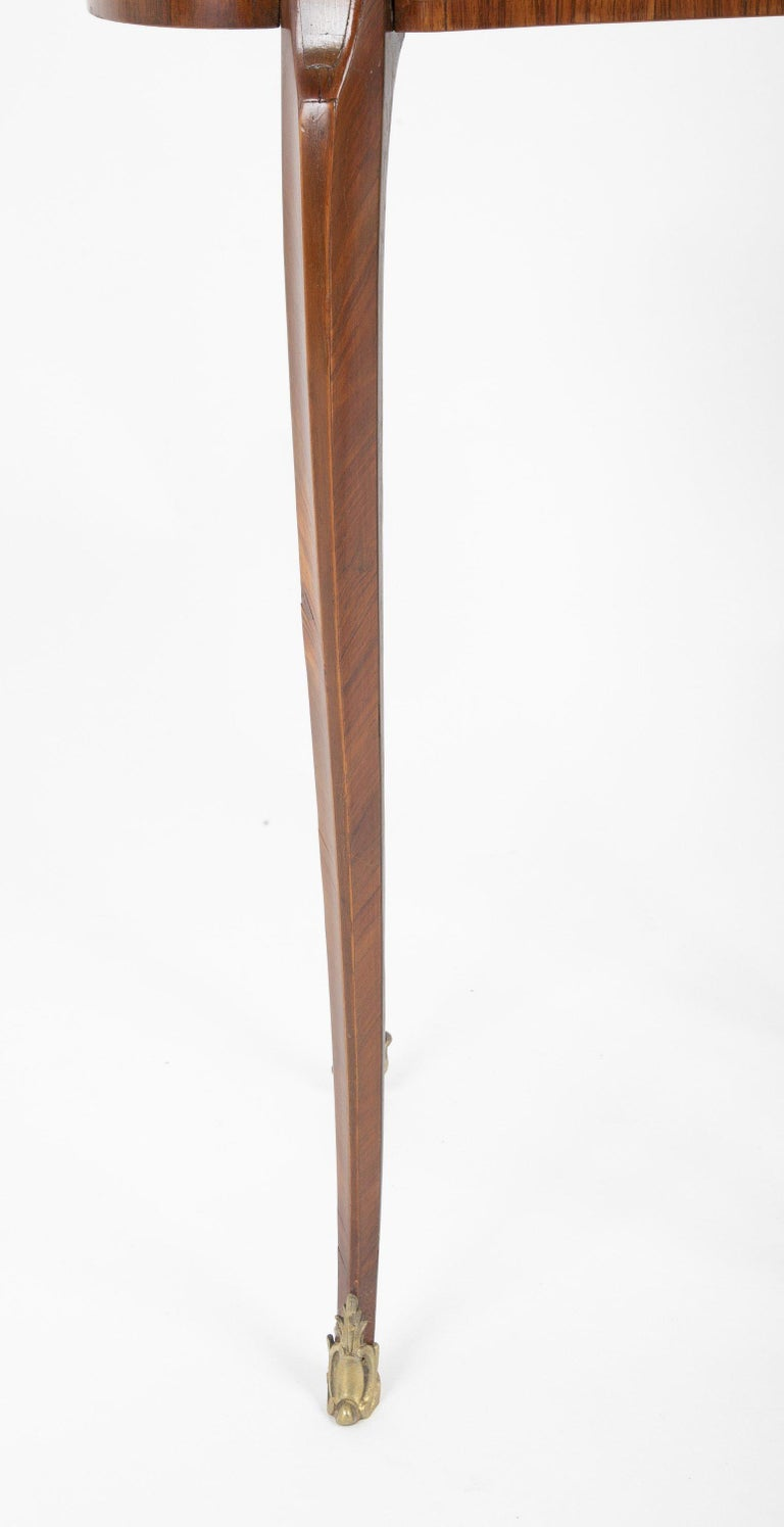 Wood Louis XV Kidney Form Marquetry Table After Charles Topino For Sale