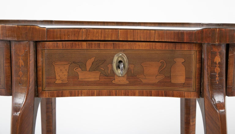 Louis XV Kidney Form Marquetry Table After Charles Topino For Sale 1