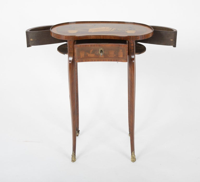 Louis XV Kidney Form Marquetry Table After Charles Topino For Sale 2