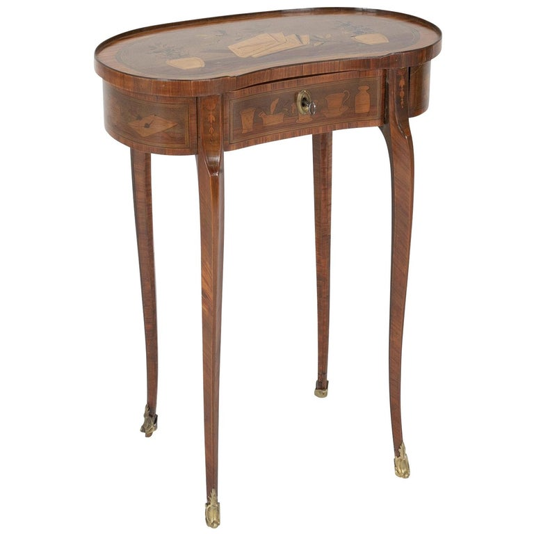 Louis XV Kidney Form Marquetry Table After Charles Topino For Sale