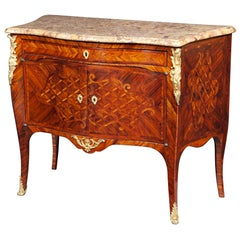 Louis XV Kingwood and Tulipwood Commode Stamped Hedouin