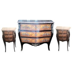 Louis XV Style Marquetry Commode and Pair of Bed Side Tables, French Bedroom Set