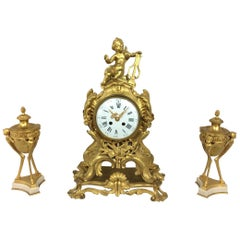 Louis XV Ormolu Mantel Clock by S. Marti Et Cie with Garniture Set
