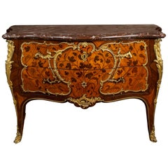 Louis XV Ormolu-Mounted Tulipwood and Bois de Bout Commode Stamped Chevallier