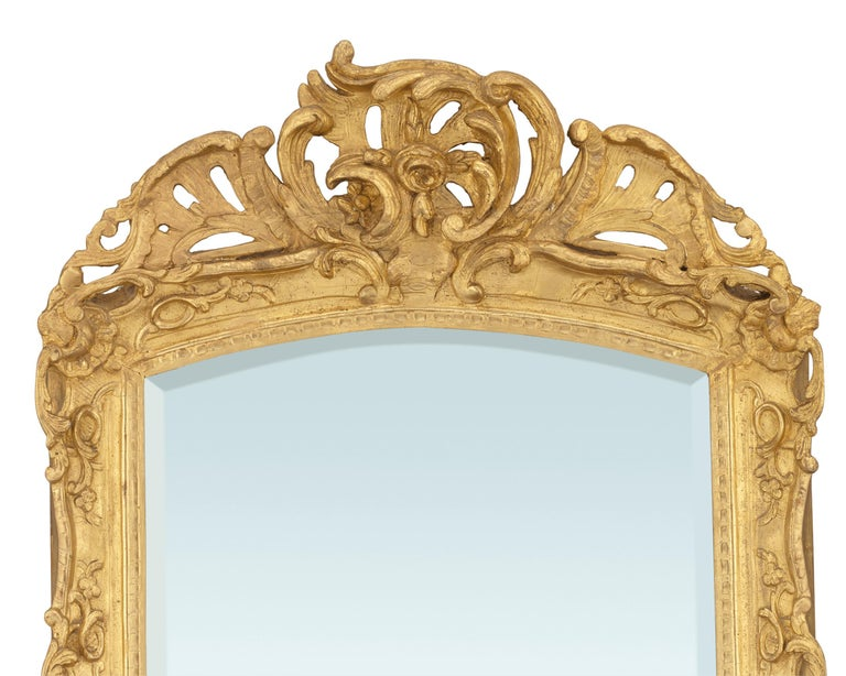 Commanding in size and artistry, this rare Louis XV-period gilt mirror is a tour-de-force of the era's highly ornamental, yet elegant style. The golden frame features sweeping, heavy scrolls and acanthus with floral and shell details that surround