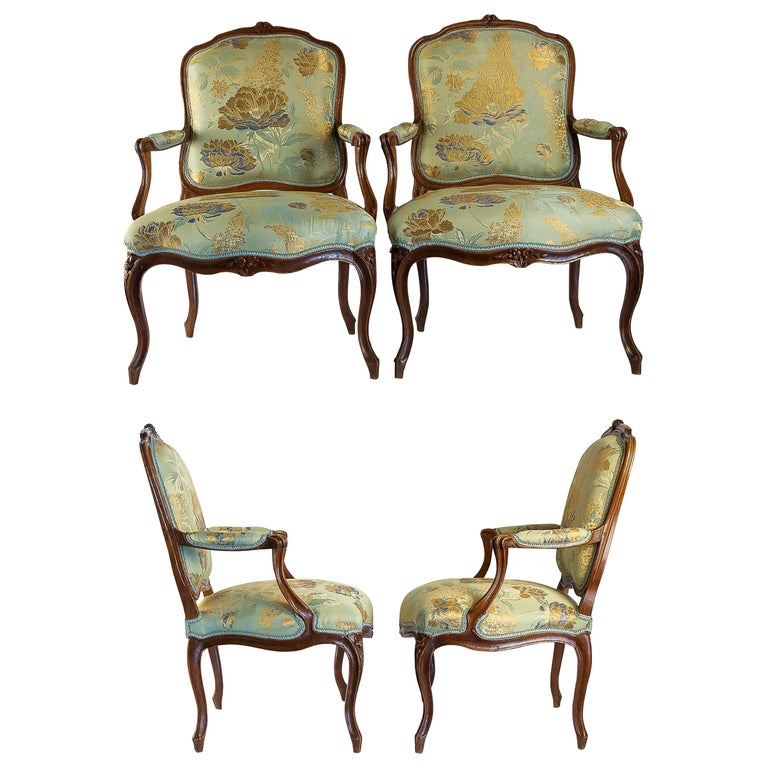 Louis XV Period Set of 4 of Large Armchairs, circa 1766-1770 by Louis Delanois For Sale