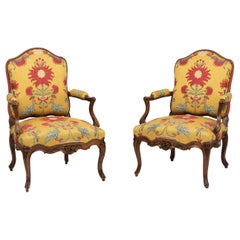 Louis XV Period Walnut Fauteuils in Red Rubelli Fabric with Birds and Flowers