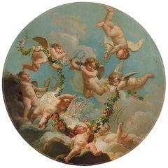 Louis XV Rococo Circular Oil on Canvas Cherub Hovering in Clouds, Boucher School