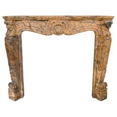 Louis XV Rococo Hand Carved Brown Forest Marble Fireplace Mantle