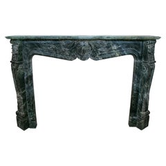 Louis XV Rococo Hand Carved Serpentine Green Marble Fireplace Mantle