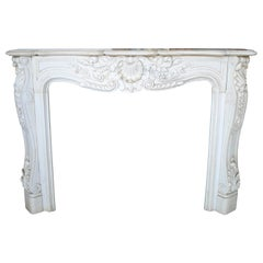 Louis XV Rococo Hand Carved White Carrara Marble Fireplace Mantle