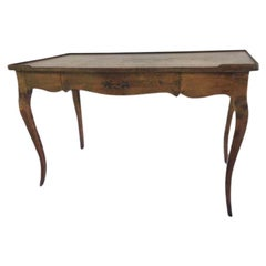 Louis XV Single Drawer French Provincial Style Stained Wood Bureau Plat