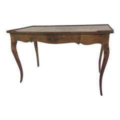 Louis XV Single Drawer Provincial Style Stained Wood Bureau Plat