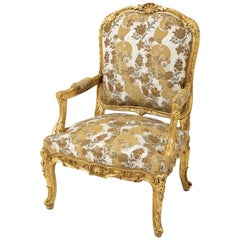 Louis XV Style à la Reine Armchair in Giltwood, End of the 19th Century