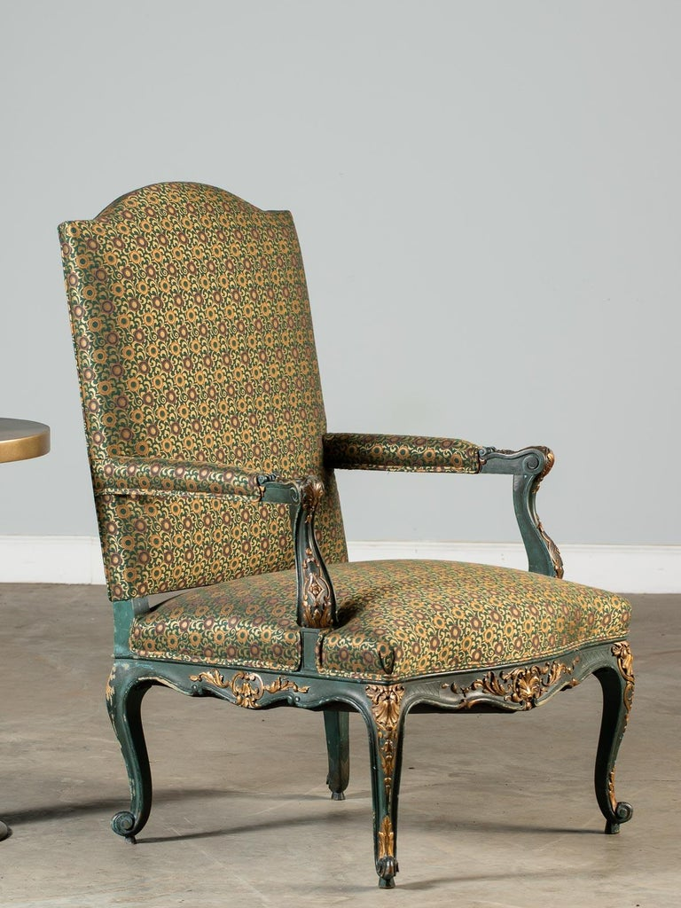 Louis XV Style Antique French Painted Gilded Carved Armchair circa 1875  For Sale 5