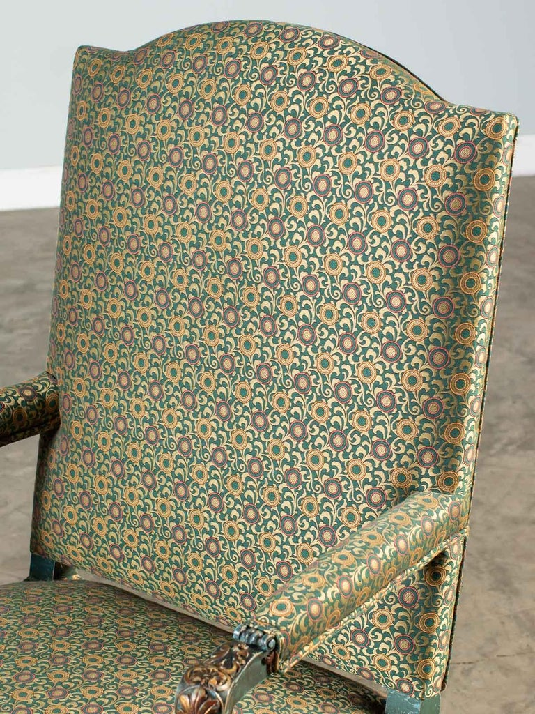 Hand-Carved Louis XV Style Antique French Painted Gilded Carved Armchair circa 1875  For Sale