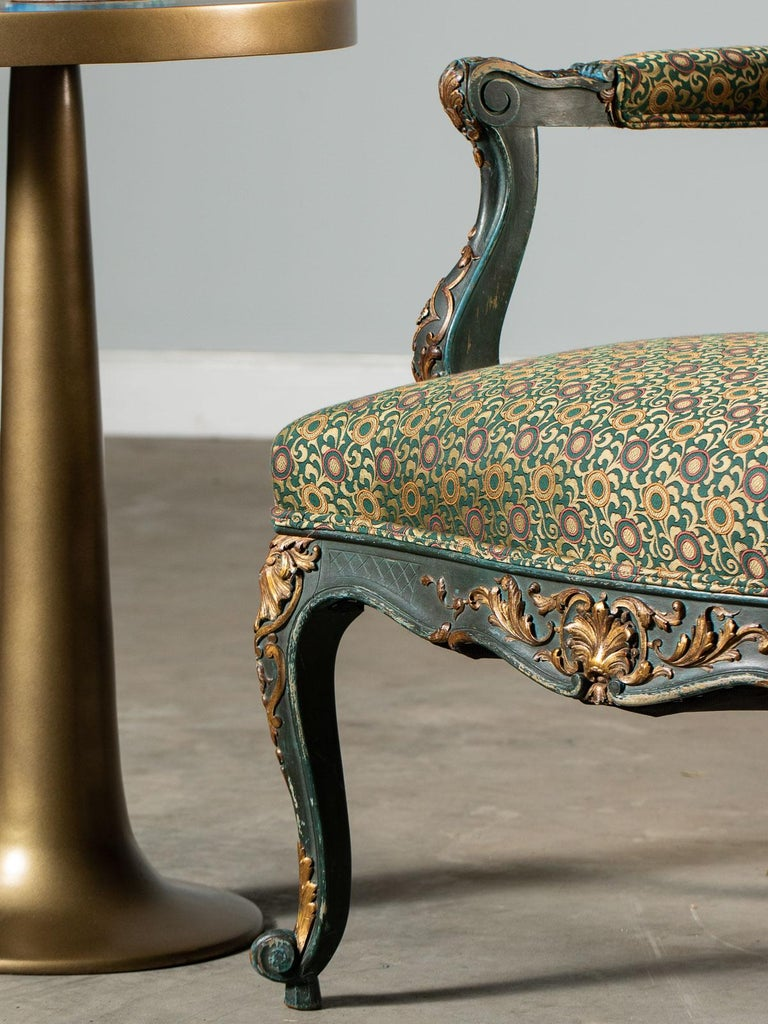 19th Century Louis XV Style Antique French Painted Gilded Carved Armchair circa 1875  For Sale