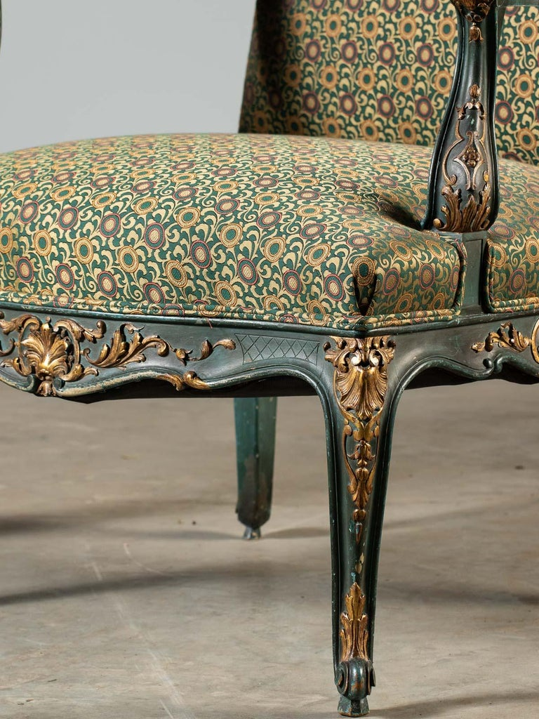 Louis XV Style Antique French Painted Gilded Carved Armchair circa 1875  For Sale 3