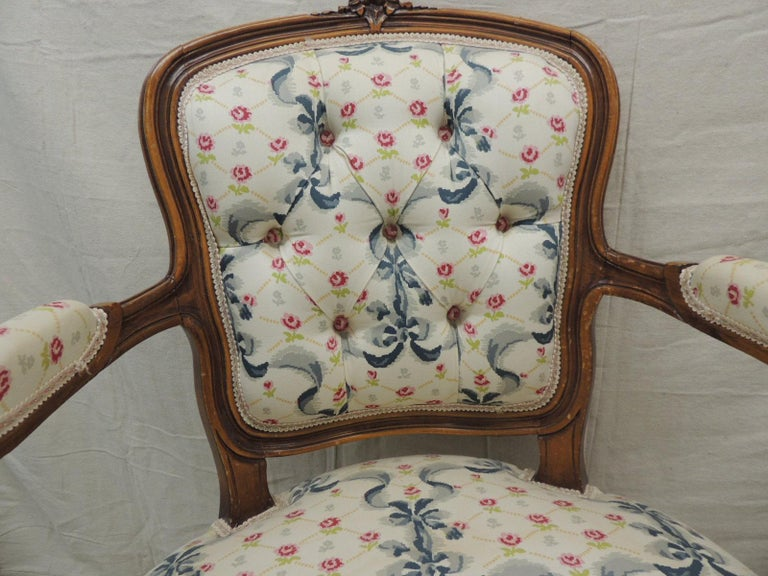 French Louis XV Style Antique Petite Armchair For Sale