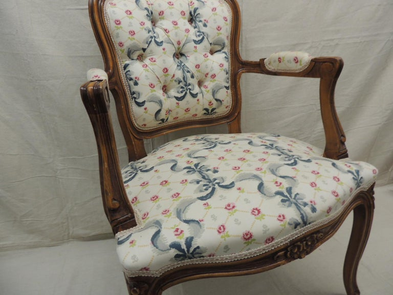 Hand-Crafted Louis XV Style Antique Petite Armchair For Sale
