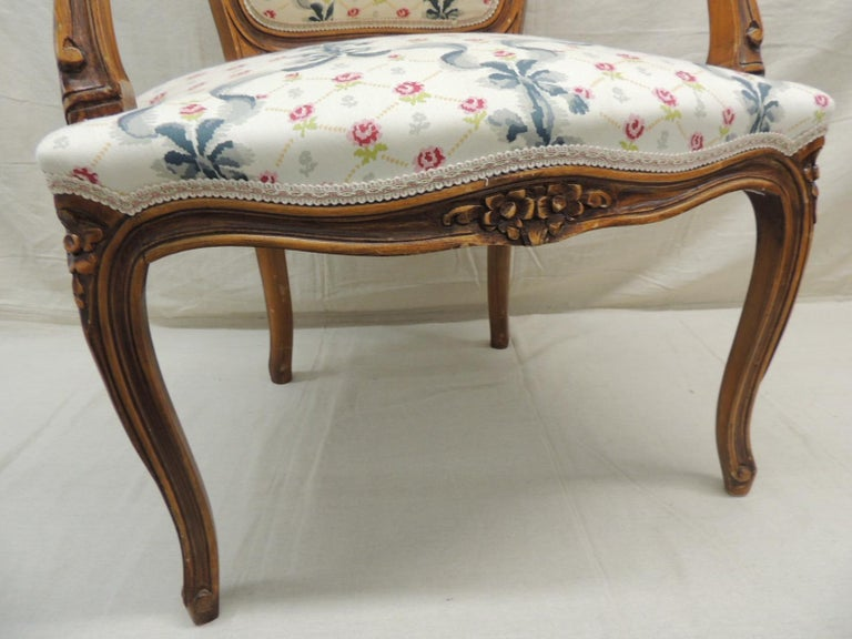 Louis XV Style Antique Petite Armchair In Good Condition For Sale In Wilton Manors, FL