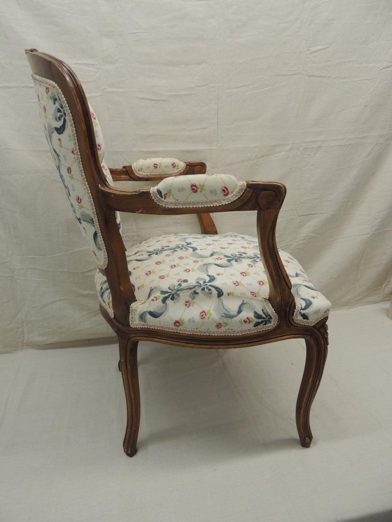 Mid-20th Century Louis XV Style Antique Petite Armchair For Sale