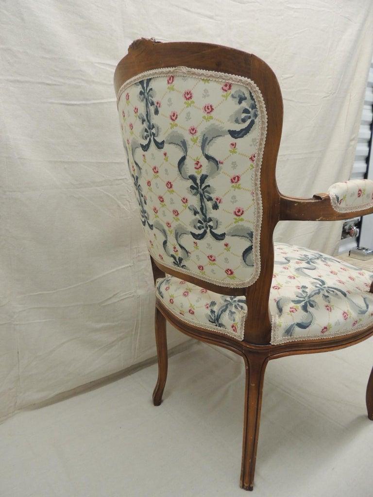 Fabric Louis XV Style Antique Petite Armchair For Sale