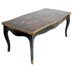 Louis XV Style Black Japanned Coffee Table by Maison Jansen