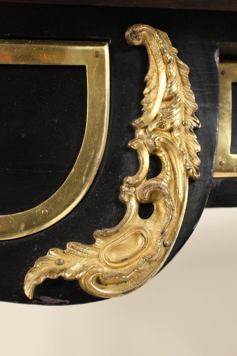 Louis XV Style Black Lacquer Desk with Gilt Bronze Mounts 8