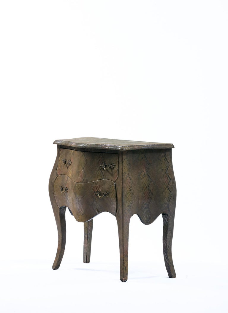 Louis XV Style Bombé Commode Wrapped in Olive Green Faux Snakeskin For Sale 6