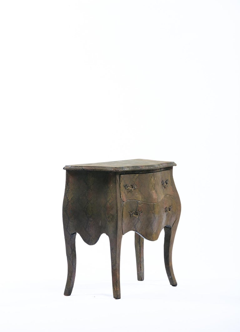 Louis XV Style Bombé Commode Wrapped in Olive Green Faux Snakeskin For Sale 8